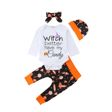 Halloween Baby Girls Boys Clothes Romper Jumpsuit Hat Headband Outfit - Boy And Girl Halloween Outfits
