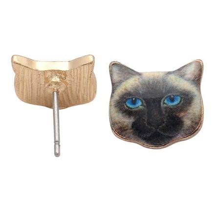 Siamese Blue Eye Kitten Cat Kitty Stud Earrings - Ginger Lyne Collection