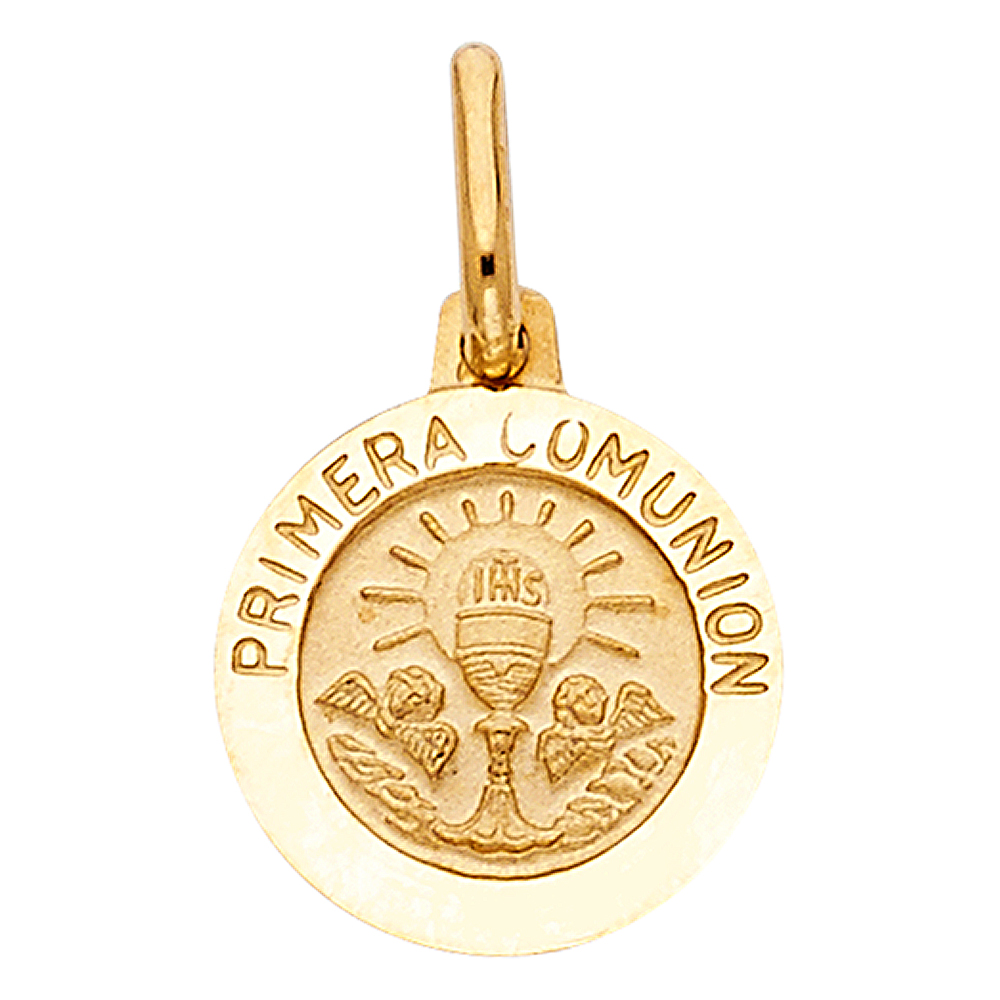 14K Yellow Gold Holy Primera Communion Religious Charm Pendant with 0.8mm Box Chain Necklace