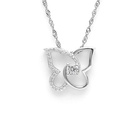 - Ginger Lyne Collection Butterfly Design Sterling Silver CZ Pendant Necklace Water Waves chain