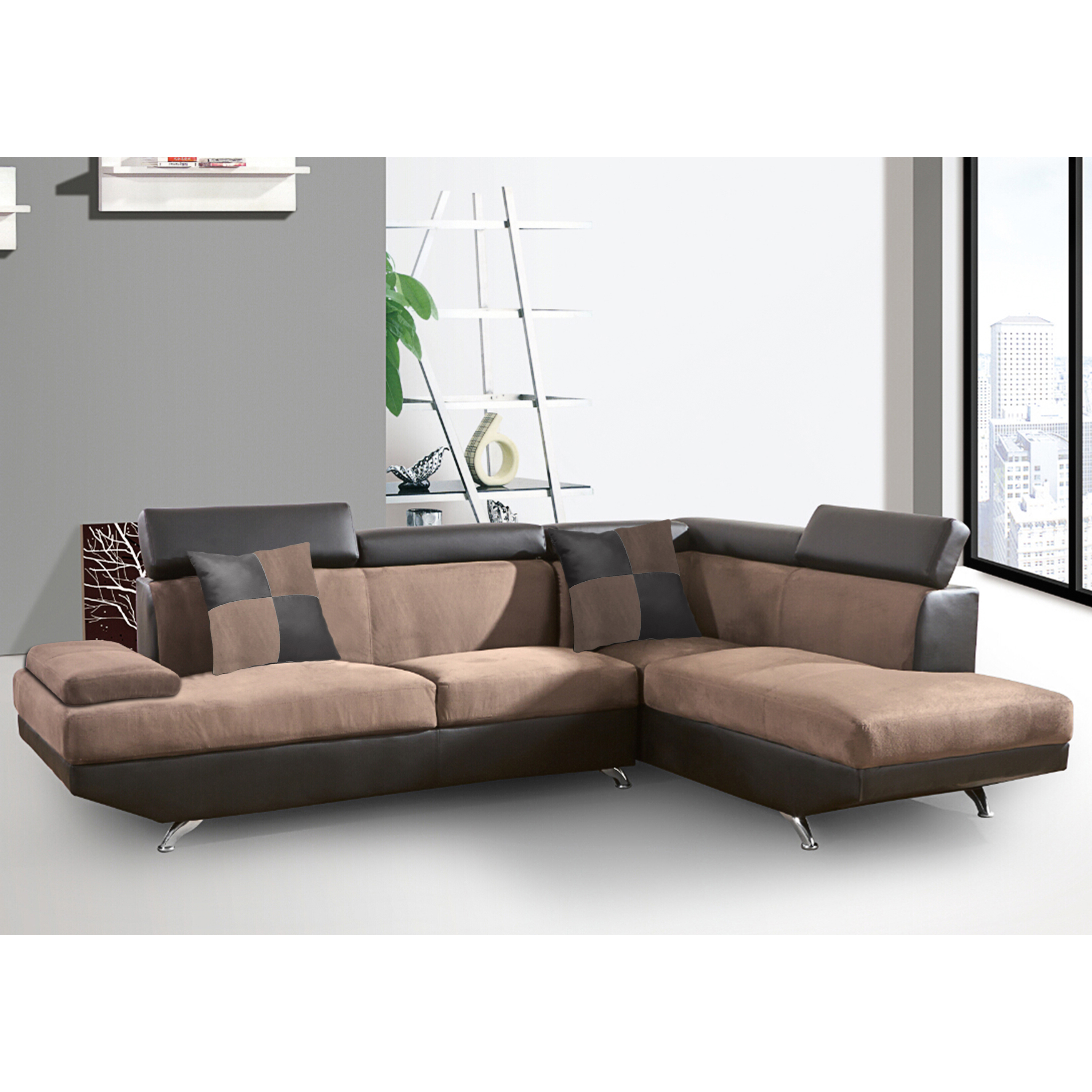 Best Master Furniture's Laura 2 Pcs Contemporary Living Room Right Facing Sectional by Best Master Furniture