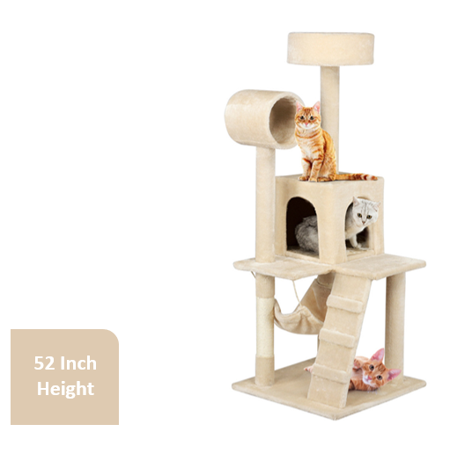 "Pet Play Cat Tree Scratcher Condo, 52.2"" H, Beige"