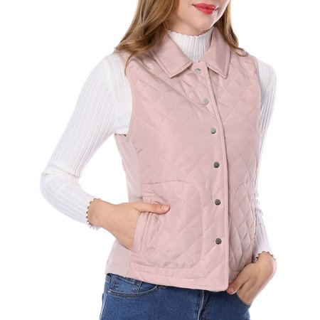 Unique Bargains Women's Button Down Ribbed Sides Lightweight Gilet Quilted