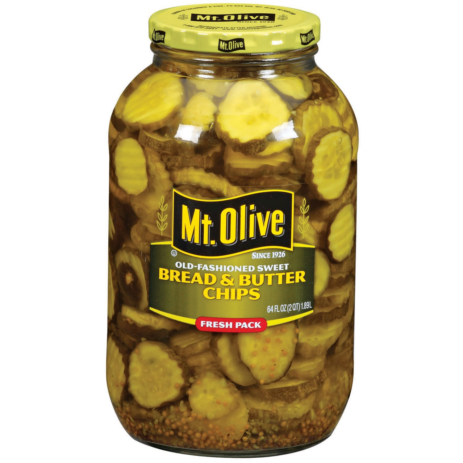 Mt Olive Bread and Butter Pickle Chips, 64 FL OZ (Pack of 6)
