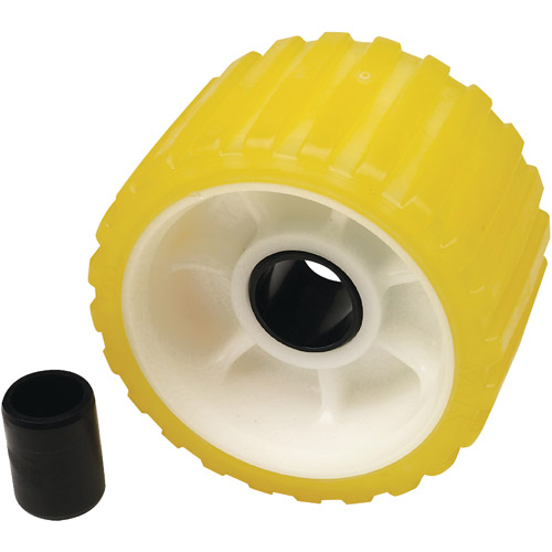 "Seachoice Non-Marking TP Yellow Rubber Ribbed Roller, 5""D x 3""W with 1-1 8"" ID Hole by Seachoice Products"