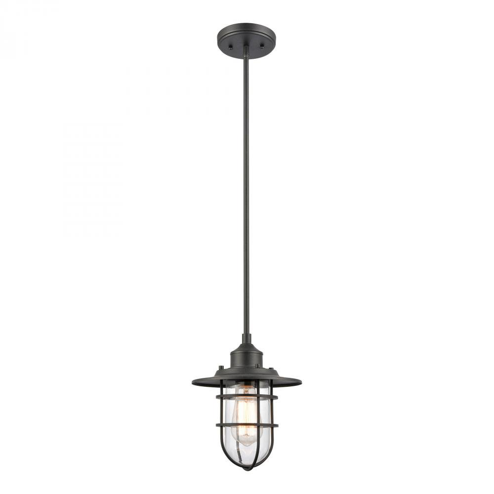 Coastal Farm 1-Light hanging in Charcoal by Elk Lighting 69374/1 in Black Finish