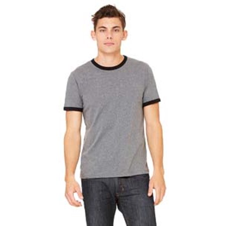 Bella-Canvas C3055 Mens Jersey Short Sleeve Ringer Tee, Deep Heather & Black - Extra Large Extra Large Heather
