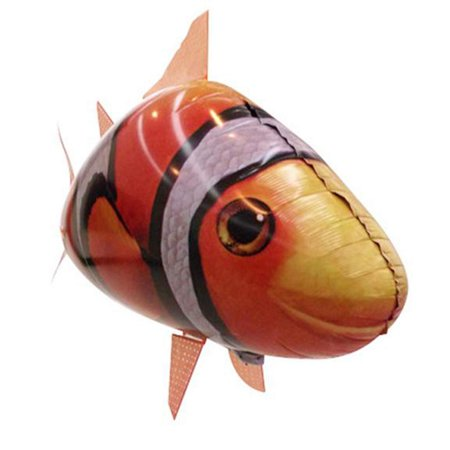 E-joy Toy Inflatable Balloon Air Swimmer Flying Clown Rc Fish Orange Color ()