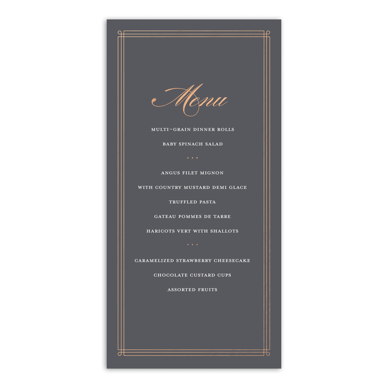 personalized wedding menu card  elegant lines  4 x 8