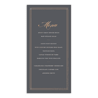 Personalized Wedding Menu Card - Elegant Lines - 4 x 8 Flat Deluxe