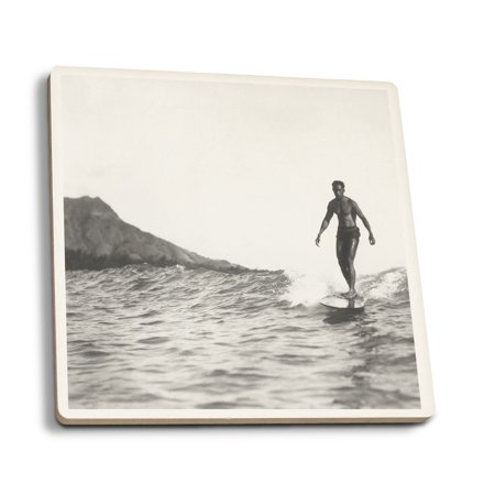 Surfing in Honolulu Hawaii Longboard Surfer - Vintage Photograph (Set of 4 Ceramic Coasters - Cork-backed, Absorbent)