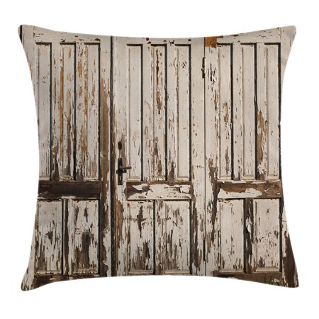 Rustic Throw Pillow Cushion Cover, Vintage House Entrance with Vertical Lined Old Planks Distressed Hardwood Design, Decorative Square Accent Pillow Case, 18 X 18 Inches, Brown White, by -