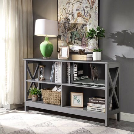 Gymax TV Stand Entertainment Media Center for TV's up to 55'' w/ Storage Shelves Gray - image 4 of 10