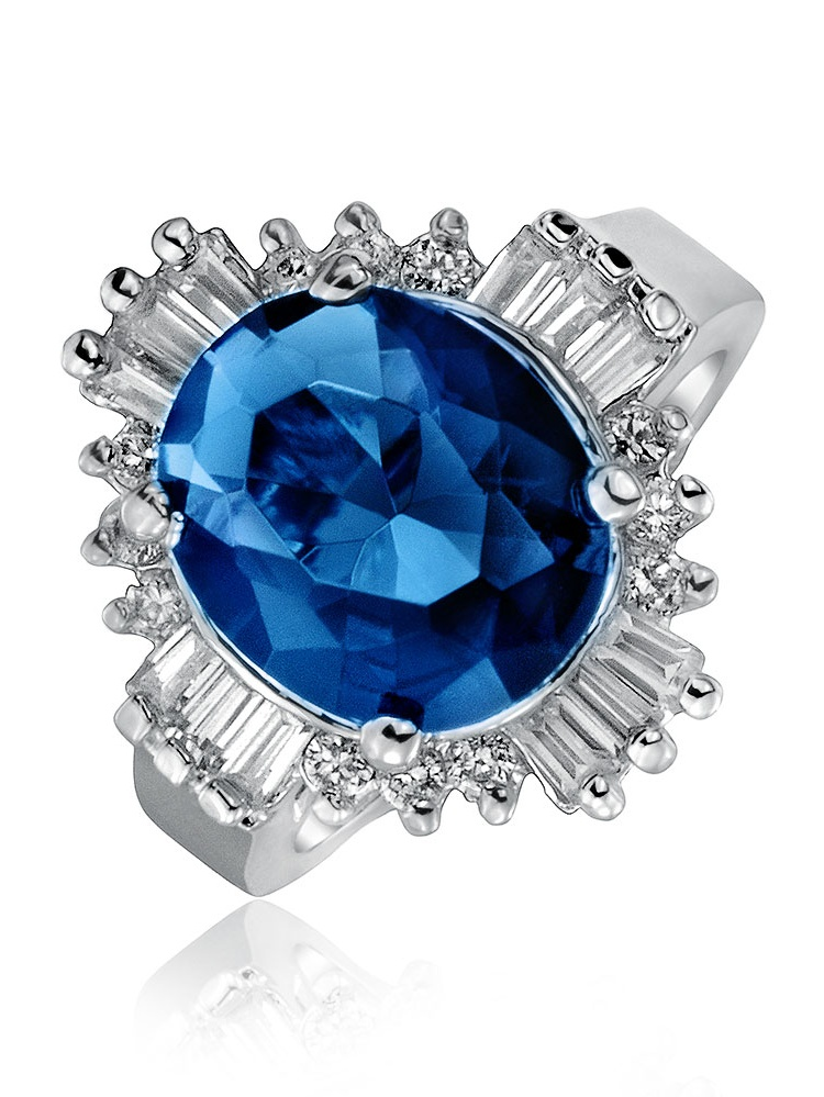 Bling Jewelry Art Deco Style Royal Blue Oval Baguette Halo 6CT CZ Simulated Sapphire Statement Ring for Women Silver Plated Brass