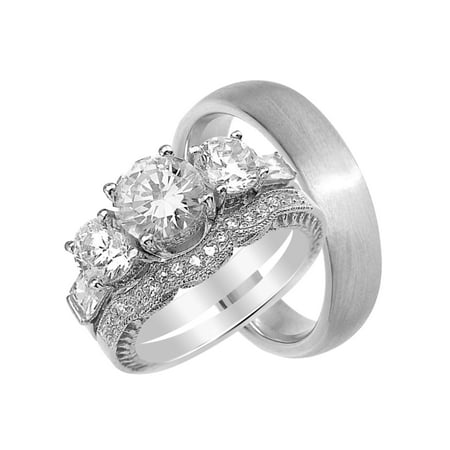 His and Hers CZ Wedding Ring Set Matching Bands for Him & Her