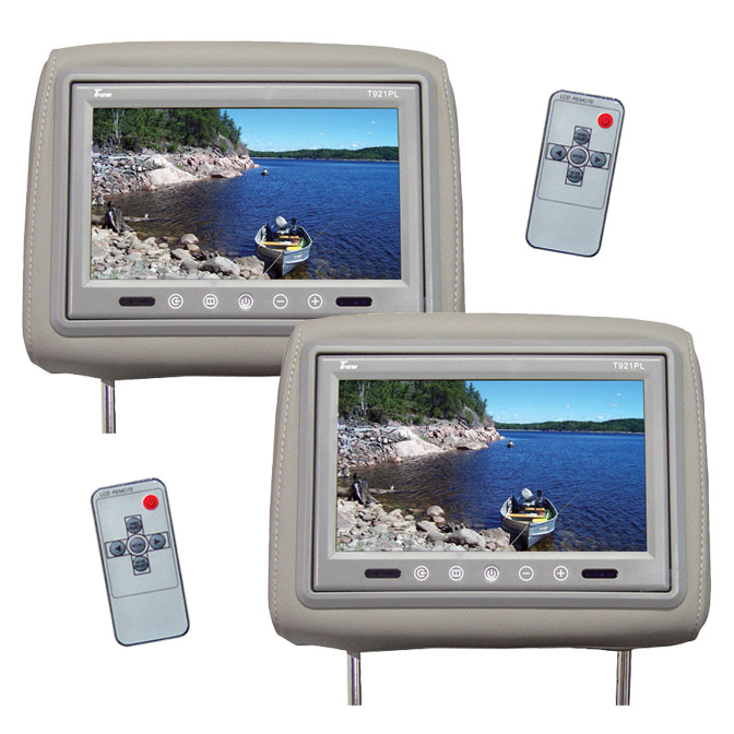 """Tview 9"""" TFT LCD Monitor in headrest IR Trans Gray"""
