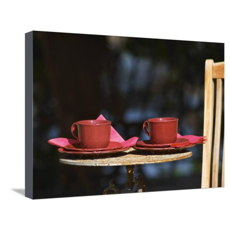 Lawn Deck Art (Table with Coffee and Teak Deck Garden Chair, Clos Des Iles, Le Brusc, Var, Cote d'Azur, France Stretched Canvas Print Wall Art By Per Karlsson )