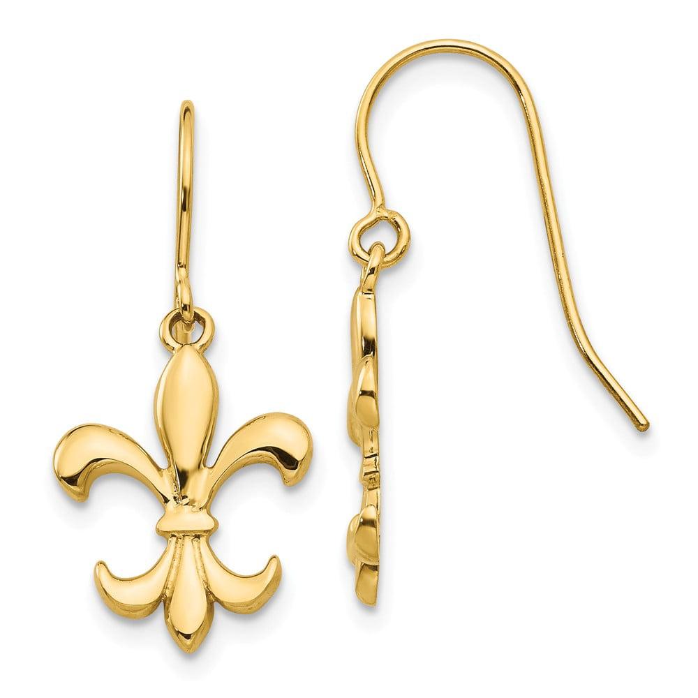14k Yellow Gold Polished Fleur de lies Dangle Shepherd Hook Earrings (1IN x 0.4IN )