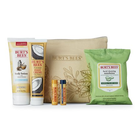Body Electrical Wiper - Burt's Bees® Favorites Holiday Gift Set, 5 Full Size Skin Care Products – Cleansing Towelettes, Foot Cream, Body Lotion, and Lip Balms