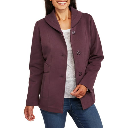 Climate Concepts Women's Soft & Cozy Fleece Jacket with Shawl Collar
