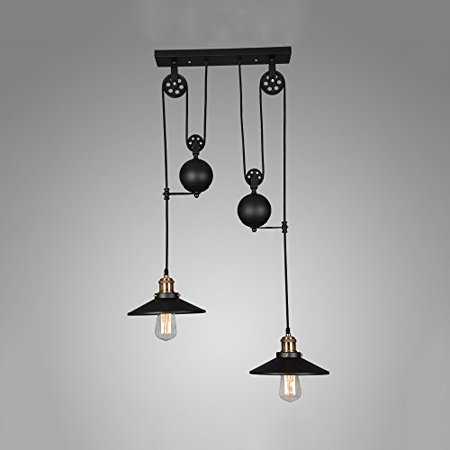 Winsoon American Country Style Pulley Droplight Antique Retro Iron