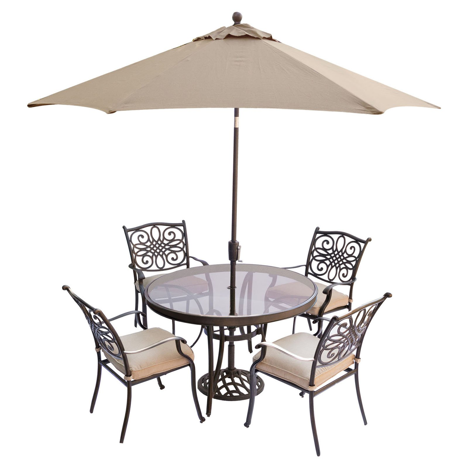 Hanover Outdoor Traditions 5-Piece Glass-Top Dining Set with Stationary Chairs