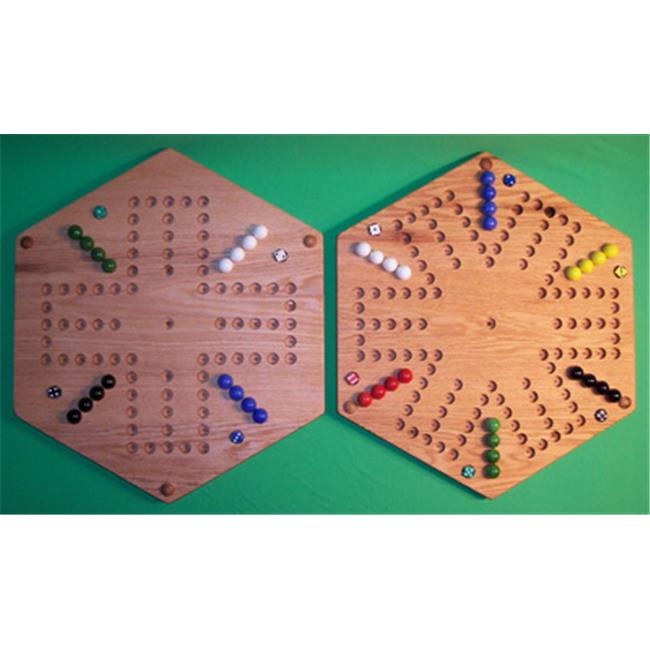 THE PUZZLE-MAN TOYS W-1977 Wooden Marble Game Board - (2 Games In 1) - 20 in. Hexagon - Aggravation 6-Player 6-Hole & 4-Player 6-Hole - Red Oak
