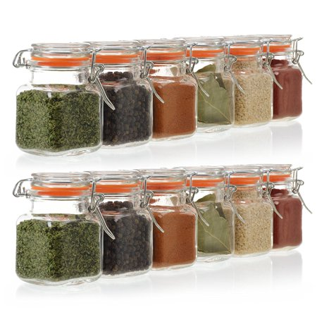 24 Pack - 3.4 Ounce Mini Square Glass Spice Jar with Orange Flip-Top Gasket, Airtight Clear Storage Jars, by California Home Goods ()