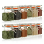 24 Pack - 3.4 Ounce Mini Square Glass Spice Jar with Orange Flip-Top Gasket, Airtight Clear Storage Jars, by California Home Goods