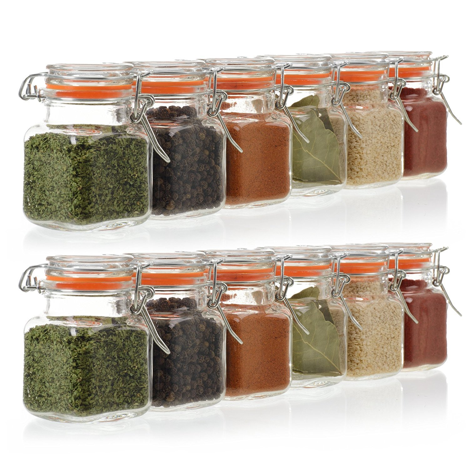 24 Pack – 3.4 Ounce Mini Square Glass Spice Jars Now $22.95!