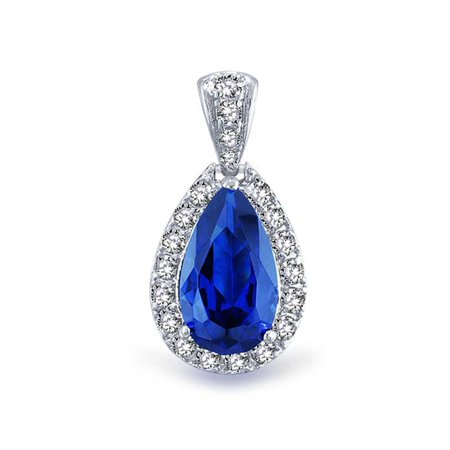 Pave AAA CZ Halo Blue Simulated Sapphire Pear Shaped Teardrop Pendant Necklace For Women Silver Plated