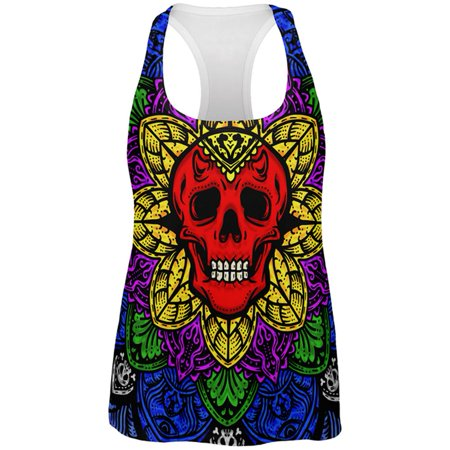 Halloween Demon Skull Mandala All Over Womens Work Out Tank Top - Coloriage Mandalas Halloween