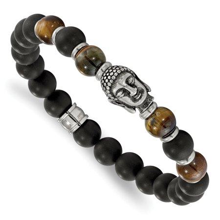 Chisel  stainless steel Buddha Black Agate Tiger Eye Beaded Stretch Bracelet