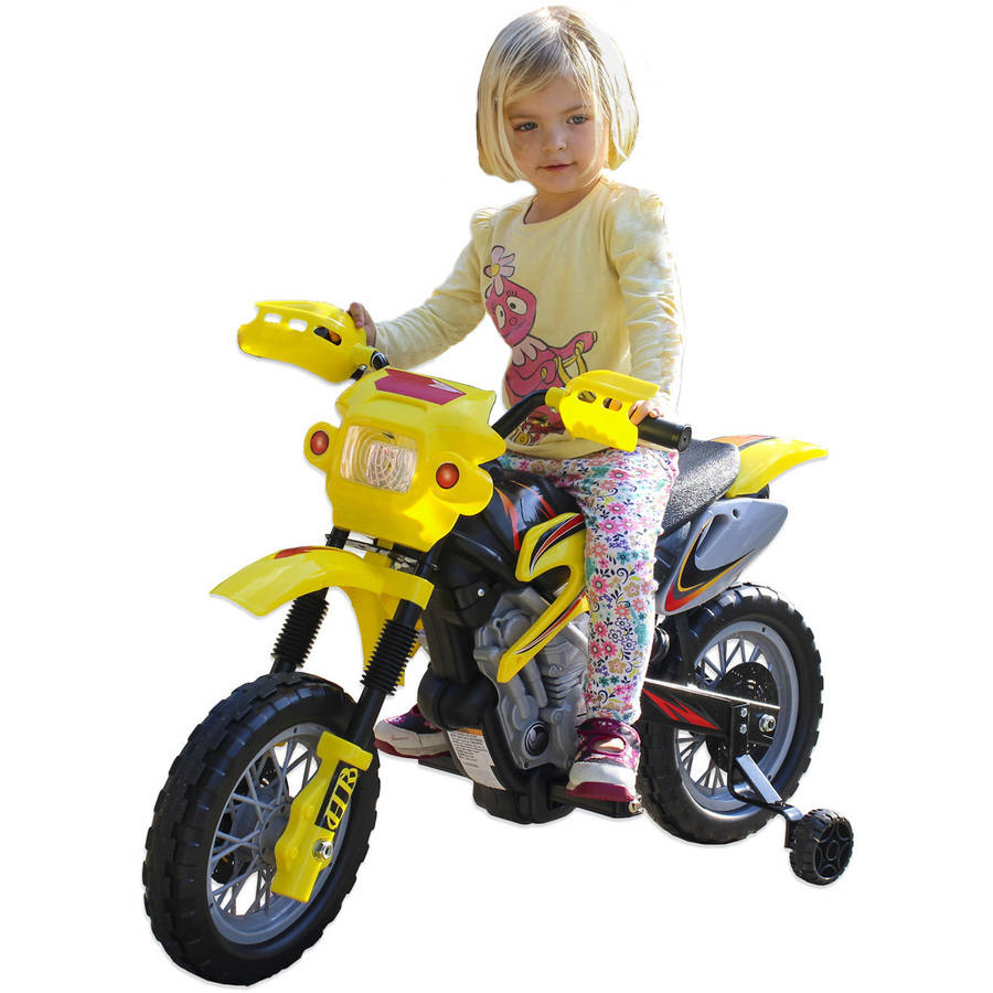 Fun Wheels 6V Battery-Powered Ride-On Dirt Bike, Yellow