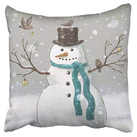 ECCOT Christmas Snowman Mint Green Scarf Magpies Pillow Case Pillow Cover 16x16 inch