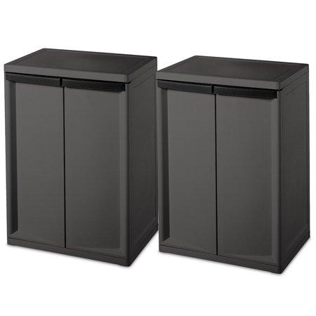 Sterilite 2 Shelf Laundry Garage Utility Storage Cabinet Flat Gray 0140 Pack