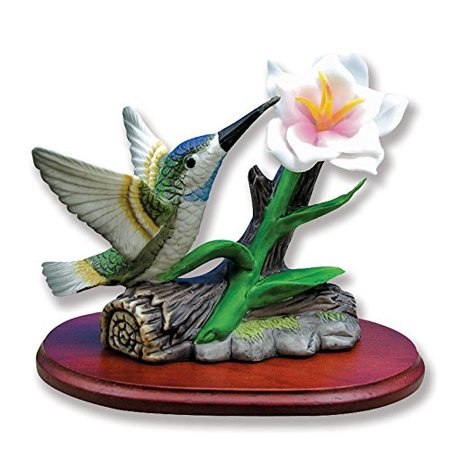 Hummingbird Figurine Porcelain with Wild Rose Flower on Wood Base