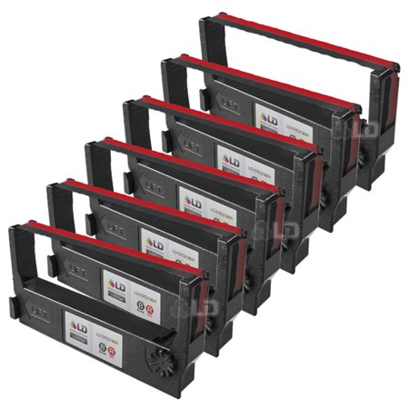 LD Epson Compatible Replacement 6 Pack Black and Red POS Ribbon Cartridges - ERC-23BR 23 Compatible Replacement Cartridge Color
