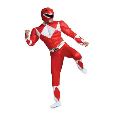 Yellow Mighty Morphin Power Ranger Costume (Power Rangers - Mighty Morphin Red Ranger Classic Muscle Adult Halloween)