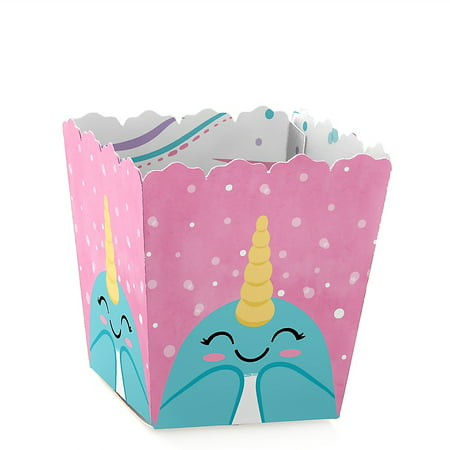 Narwhal Girl - Party Mini Favor Boxes - Under The Sea Baby Shower or Birthday Party Treat Candy Boxes - Set of 12