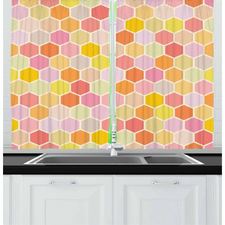 Geometric Curtains 2 Panels Set, Hexagon Honeycomb Inspired Geometric Modules Contrast Pastel Tones Vintage Print, Window Drapes for Living Room Bedroom, 55W X 39L Inches, Multicolor, by Ambesonne