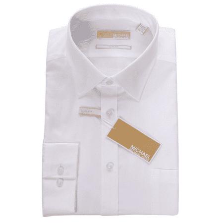 Michael Kors Men`s Slim Fit  Button Down Cotton Dress Shirt -