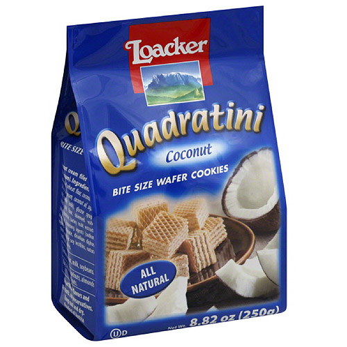 Loacker Quadratini Coconut Bite Size Wafer Cookies, 8.82 oz, (Pack of 8)
