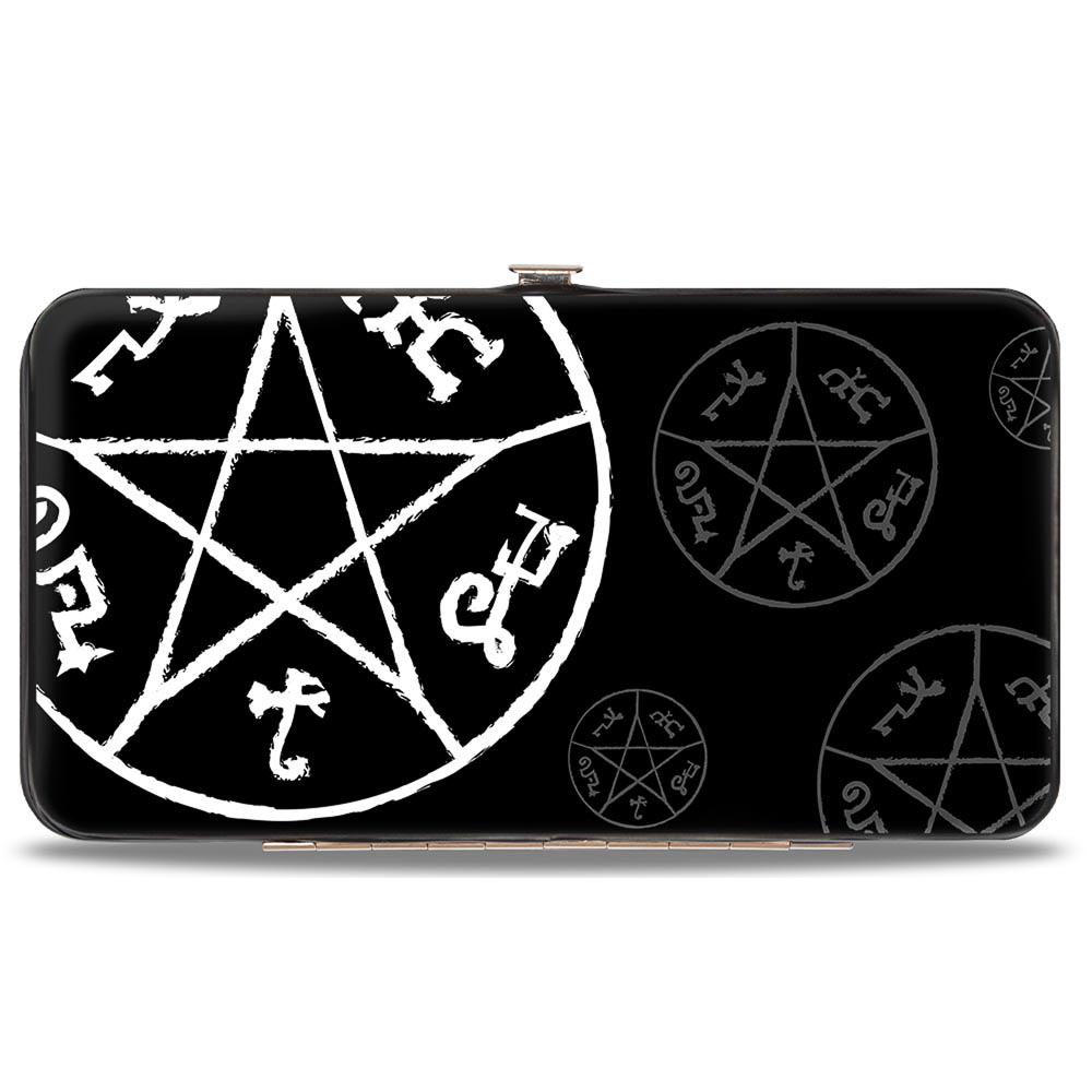 Supernatural Devil's Trap Symbol Scattered Black/Gray/White Hinged Wallet