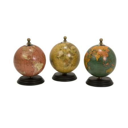 Antique Finish Mini Globes on Wood Base - Set of