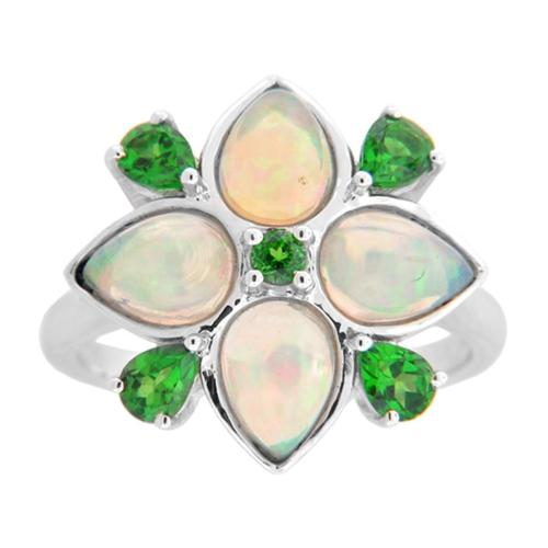 Sterling Silver Ethiopian Opal and Diopside Flower Ring Ethiopian Opal & Tanzanite Size 6