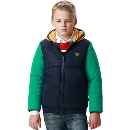 Leo&Lily boys Winter Padded Puffer Contrast Jacket Outwear Coats (10 12 Boys Winter Coats)