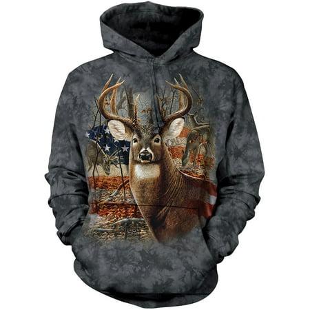 The Mountain PATRIOTIC BUCK Black Adult Unisex Hooded Sweatshirt