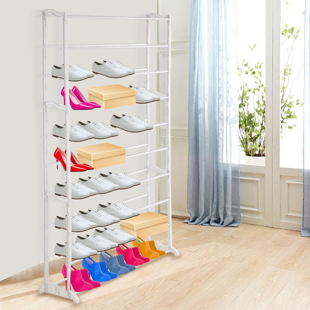 50 Pairs 10 Tiers Space Saving Storage Organizer Free Standing Shoe Tower Rack