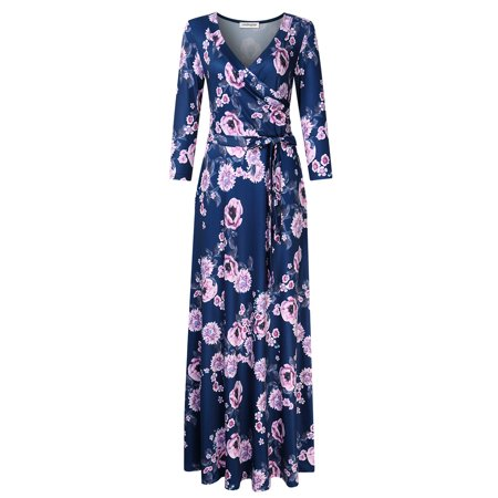 Leadingstar Women's 3/4 Sleeve V-Neck Floral Print Boho Maxi Wrap Dress Dark Blue S